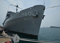 USS Frank Cable (AS 40) sits along the pier in Sattahip after arriving for a port visit. (U.S. Navy/MC2 Greg House)