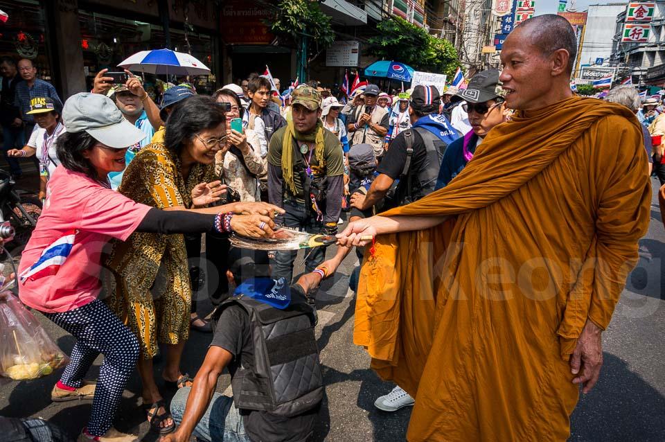 Luang Pu Buddha Isara - Anti government protester @ Bangkok, Thailand