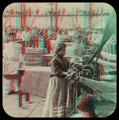 Making Coffee Bags, Santa Gertrude factory, near Orizaba, Mexico 1903.   anaglyph 3D