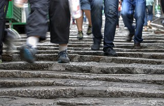 Walking the cobble stones