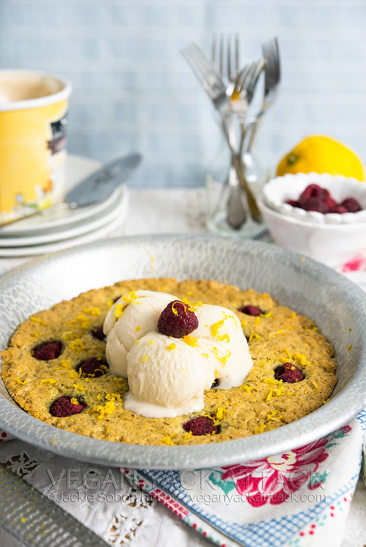 This Spring-inspired Lemon Raspberry Pizookie with non-dairy ice cream is easy to make, delicious, and fun to eat! Plus, it's vegan and nut-free.