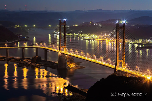 bridge light sea reflection night bay harbor nightscape nightview sagapref
