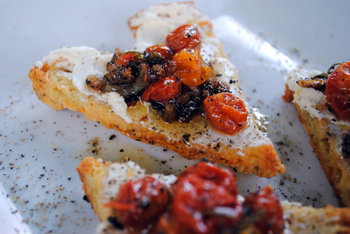 Oven Roasted Tomatoes with Goat Cheese & Gluten Free Focaccia