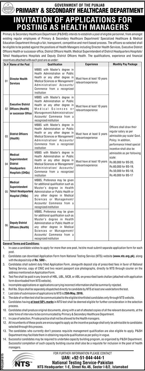 Primary and Secondary Health Care Department Punjab Jobs 2016