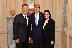 U.S. Secretary of State John Kerry poses for a photo with Panamanian President Juan Carlos Varela and Vice President Isabel Saint Malo at a reception that the Secretary hosted in honor of the 46th Annual Washington Conference on the Americas and the U.S.-Caribbean-Central American Energy Summit, at the U.S. Department of State in Washington, D.C., on May 4, 2016. [State Department photo/ Public Domain]