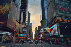 Sunset in Times Square, New York.