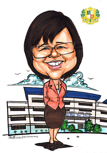 farewell caricature for Principle of St. Gabriel's Primary School