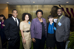Georgia State Representative Stacey Abrams (MPAff '98) and the LBJ School Barbara Jordan Student Co-Chairs.  (L to R) Phillip Nevels, Asha Dane'el, Stacey Abrams, Chelsea Brass, and Garry Davis