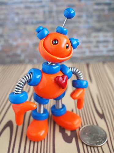 Commission Orange and Blue Mini Robot Sculpture by HerArtSheLoves