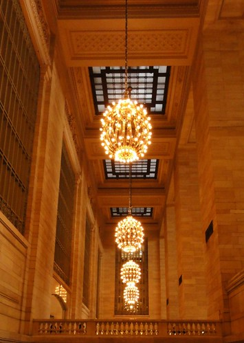 Interior including chandeliers in Grand Central Terminal New York