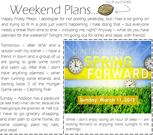 weekend plans 3.8.12