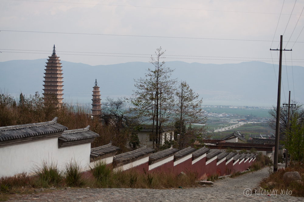 Three pagodas from the side