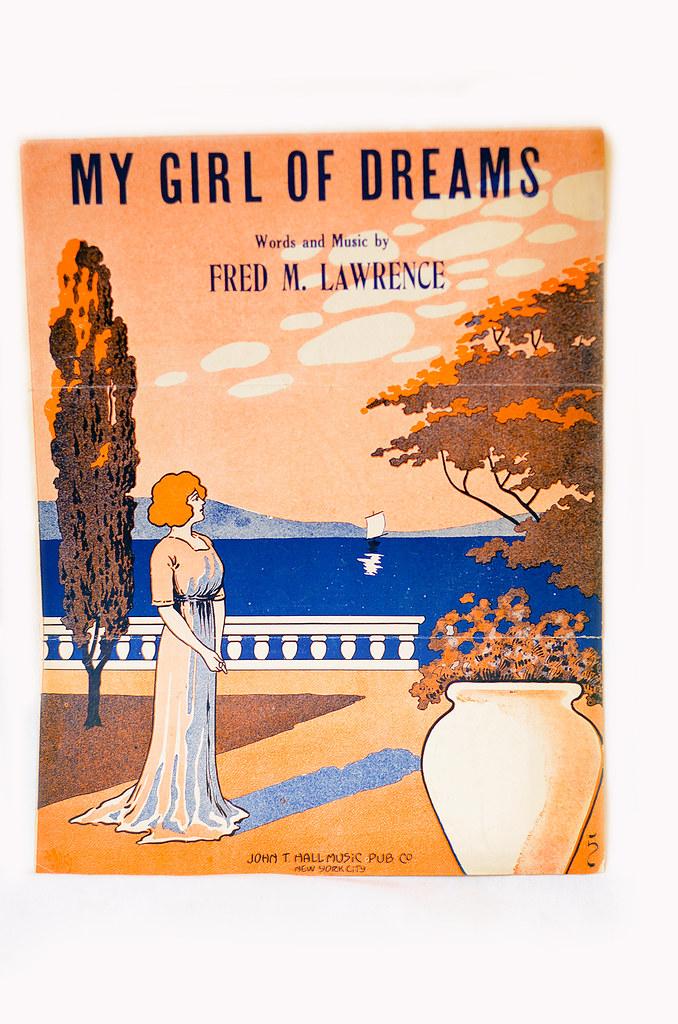 """Antique Art Nouveau Sheet Music """"My Girl of Dreams"""""""