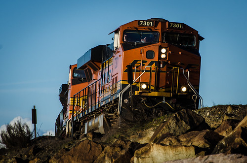 BNSF Railway GE ES44DC snakes its way along Edmonds Shorline