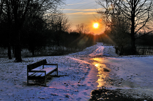 winter sunset snow cold love reflecting hiver lovers reflet amour neige gel froid chanson glace amoureux publics georgesbrassens bancs