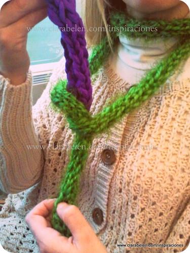 Tejer con los dedos: bufanda rápida