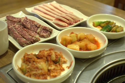 Raw beef ribs fillet & pork, side dishes