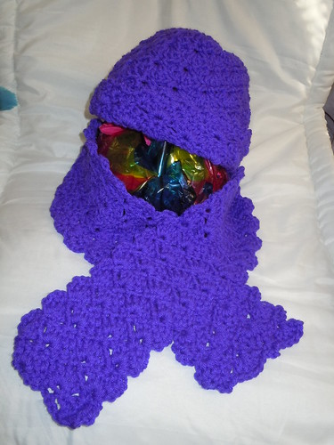 Purple Shell Stitch Hat and Scarf
