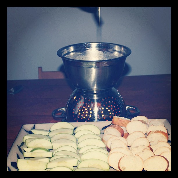Our makeshift fondue pot