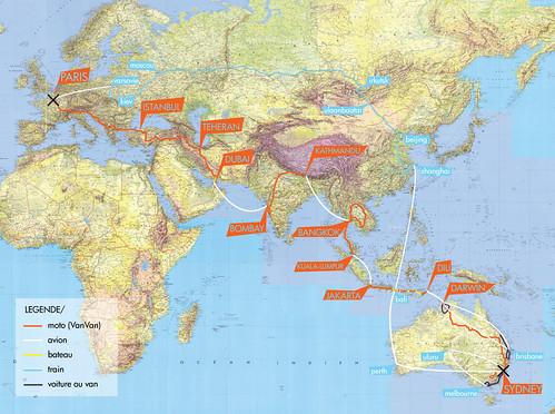 Carte de notre parcours Paris-Sydney-Paris en moto