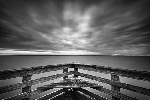 longexposure morning sky blackandwhite water clouds sunrise dawn pier maryland northbeach drama chesapeake chesapeakebay