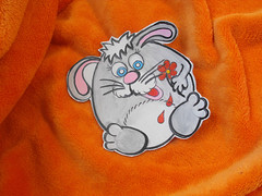 Unique leather hand painted coaster. OOAK coaster. Great gift for kids. Rabbit