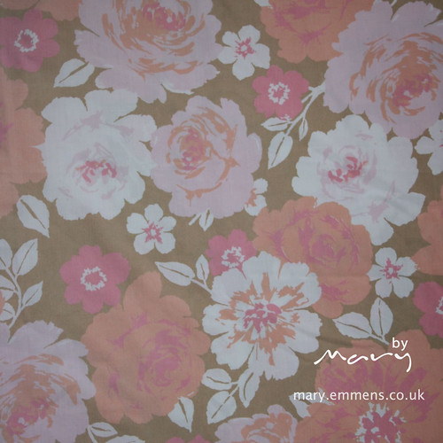 Vintage sheet pink/brown floral