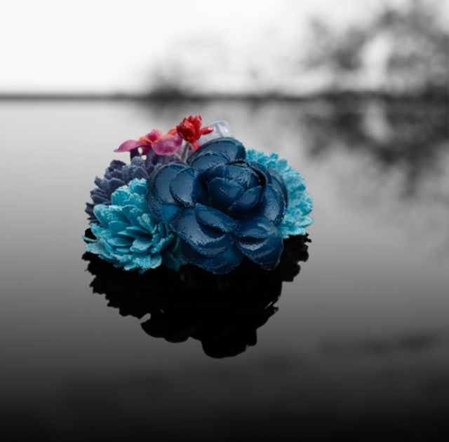 chanel flower brooch-camillia blues cyan pink