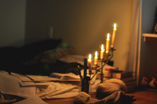 working-by-candlelight