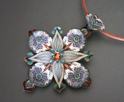 Dimensional Pendant in Blues and Browns
