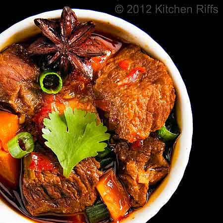 Red-Braised Beef with Sweet Potatoes in White Ramekin, Overhead View