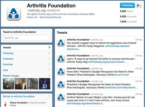 Arthritis Foundation Twitter Screenshot