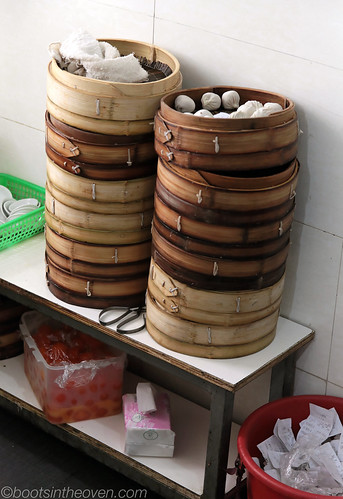 Stacks of Dumplings (and a box of salted duck yolks)
