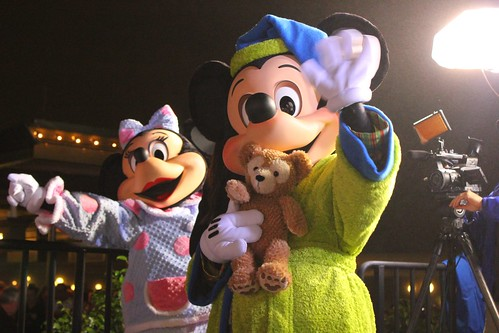 Mickey and Minnie Mouse in their pajamas