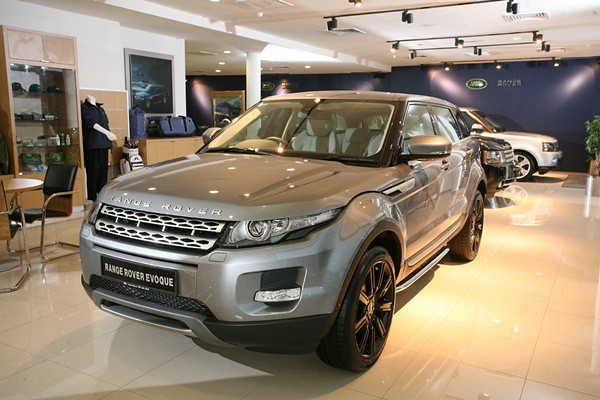 (From Front) The new Range Rover Evoque, Range Rover and Range Rover Sport on display at the Range Rover section