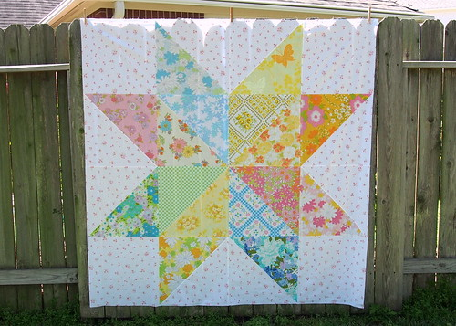 Vintage Sheet Giant Star Quilt