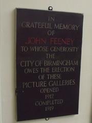 Photo of John Feeney and Feeney Art Galleries black plaque