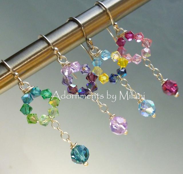 Bridesmaid Earrings in Pink Purple Blue Green Wedding Colors Bridal