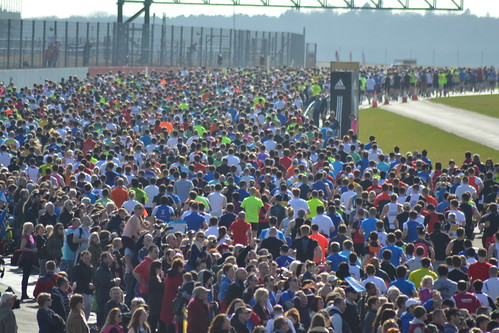 The masses at the start of the Silverstone Half marathon