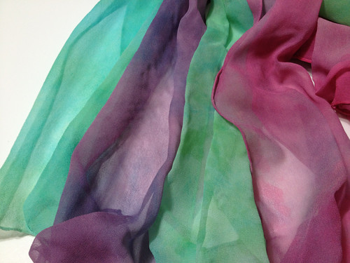 Batch of handdyed chiffon scarves