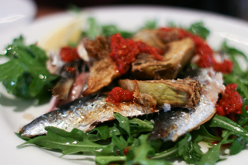 Charcoal grilled sardine fillets with gum mastic, harissa and fried artichokes