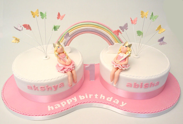 Twins 1st Birthday Cake Flickr Photo Sharing