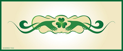 Shamrock with Hands Claddagh Design