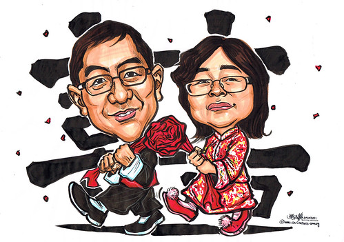 Chinese traditional wedding caricatures in 'Kua'