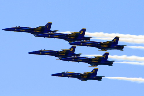 Blue Angels fly over the Gulf of Mexico