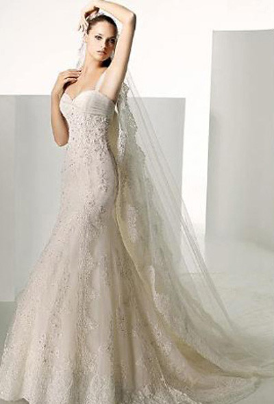 Empire Sweetheart Watteau Satin Lace Bridal Gown