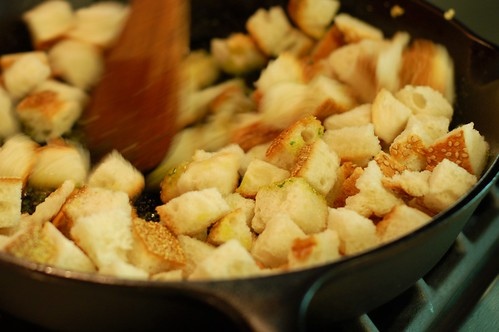 Toasting the croutons in the skillet by Eve Fox, Garden of Eating blog, copyright 2012