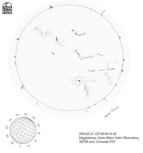 2014.03.17. H-alpha Sun sketch - Bognár Tamás