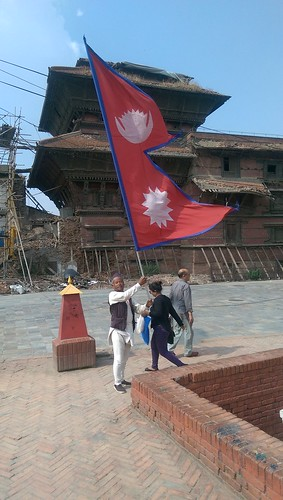 Man with Nepal flag