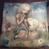Beautiful limited edition cushion by the extraordinary Italian illustrator Nicoletta Ceccoli last few available in our amazing sale in the gallery and online #richardgoodallgallery #nicolettaceccoli #humptydumpty #cushion